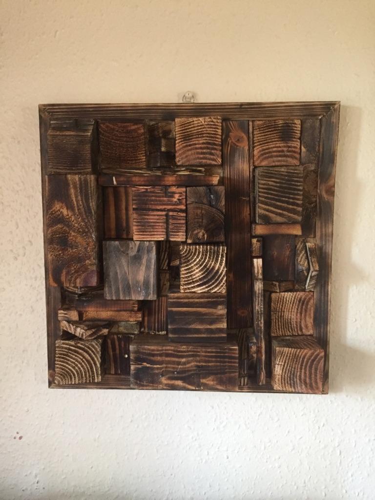 Very large handmade wooden wall art