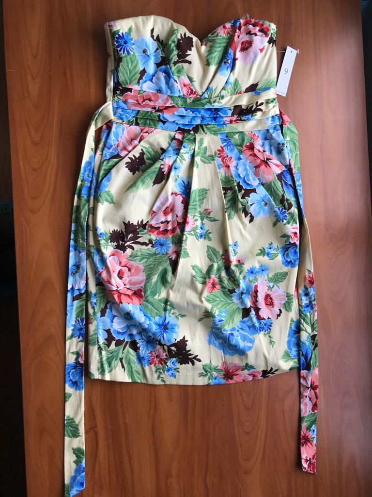 New Strapless Floral Dress - size 9
