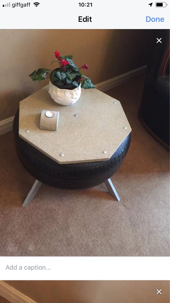 Handmade tyre table