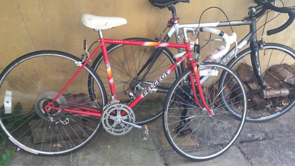 Vintage red Peugeot racing bike for ladies