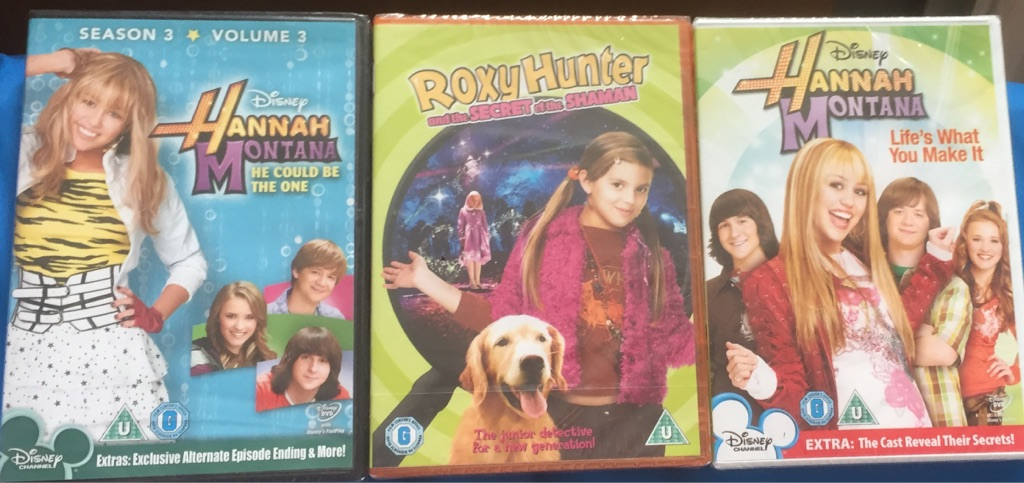 X3 DVD's brand new and factory sealed.2 hanna Montana And 1 roxy Hunter
