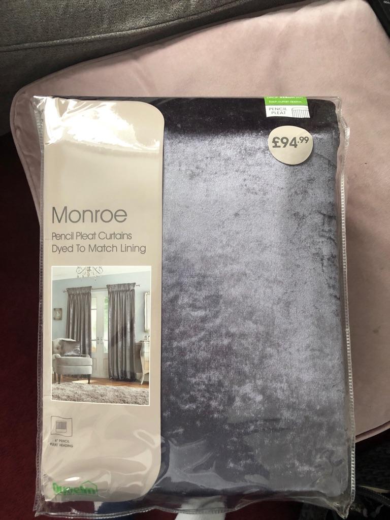 """Dunelm Grey Velvet Curtains 90x90"""" New in Packet"""