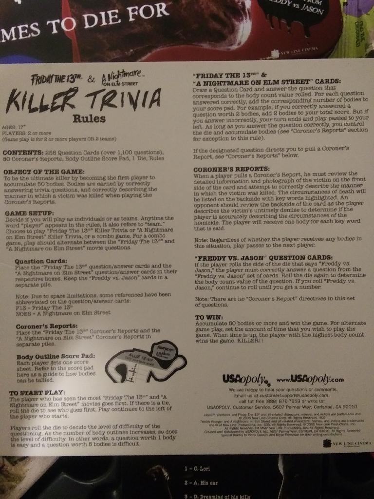 Killer Trivia Game