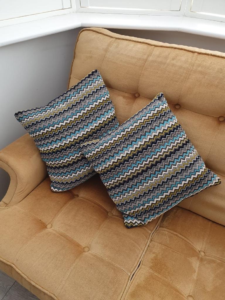 2 x blue mustard turquoise cushion pillows