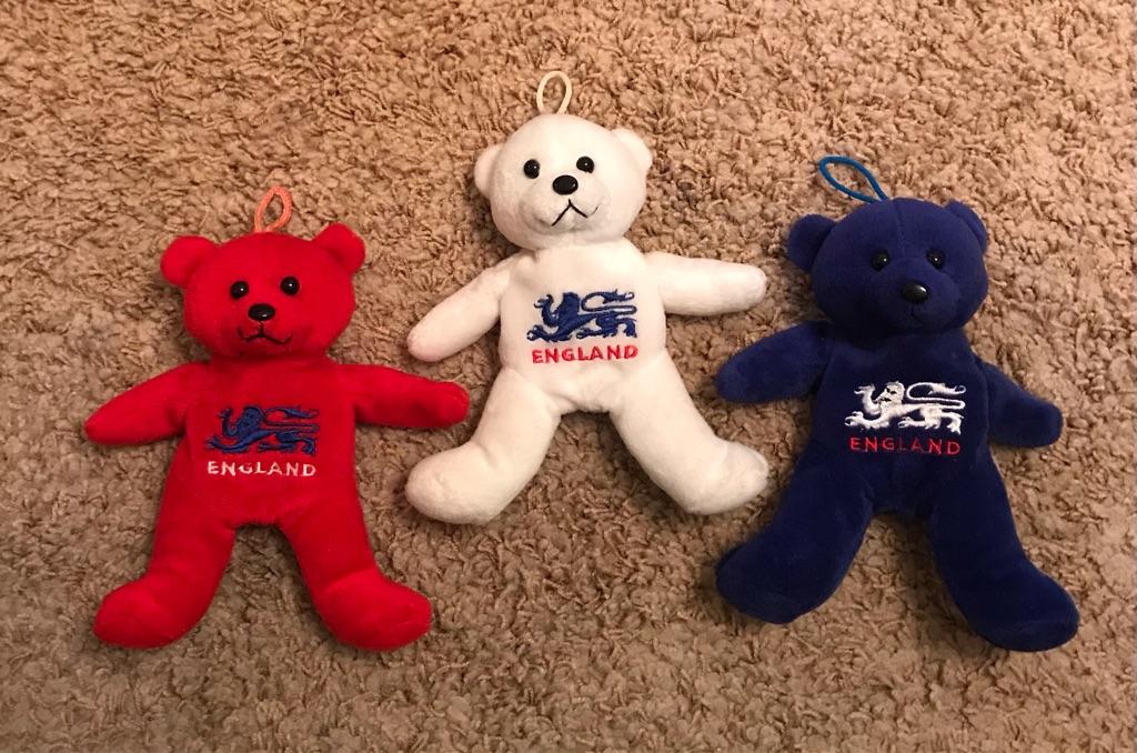 Set of 3 'England' teddy bears