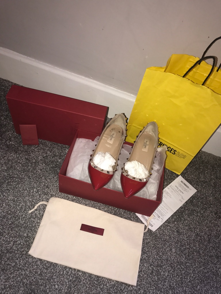 Valentino red rock stud just a month old worn once