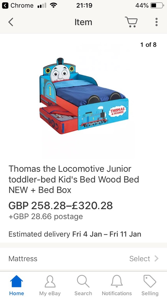 Thomas the tank toddlers bed