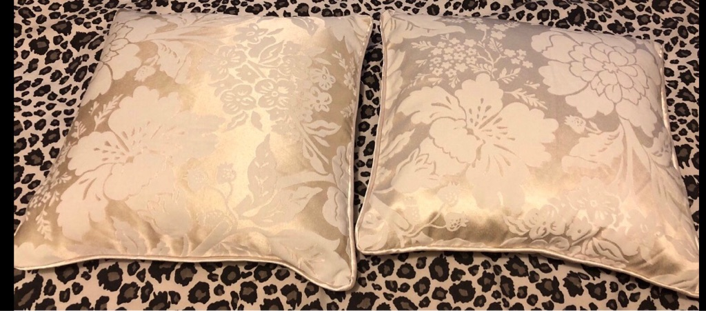 Cream patterned matching pillow pair