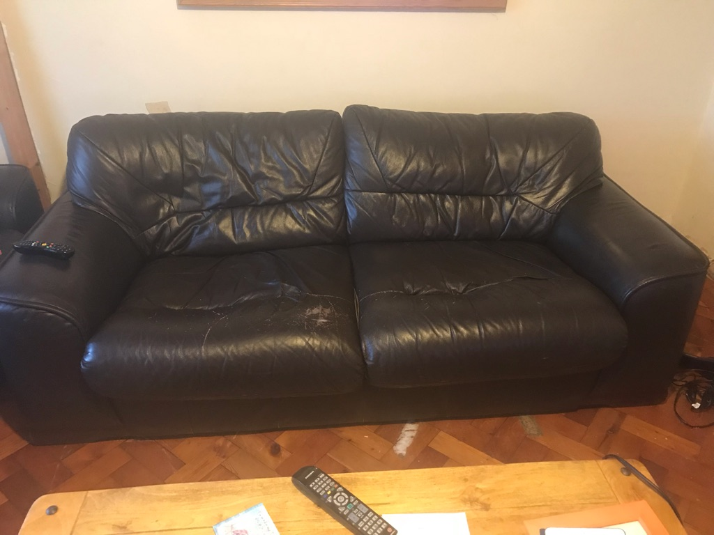 Brown leather 3seater sofa x 2