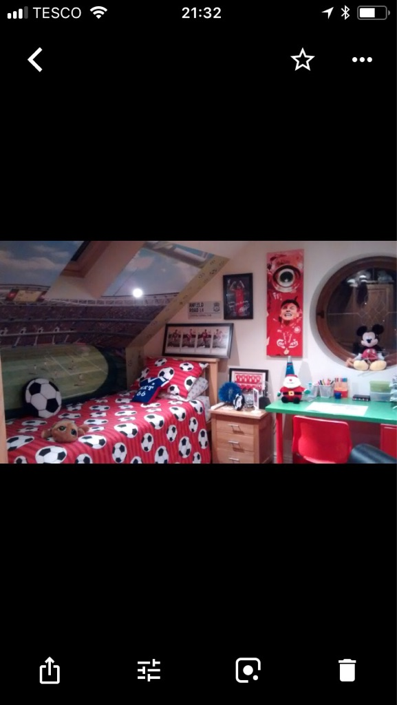Selection of football themed bedroom items