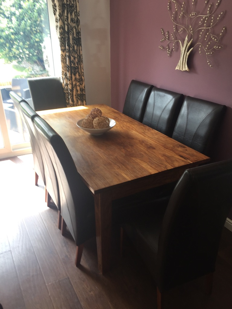 Solid Wood Walnut Table with 8 Leather Chairs