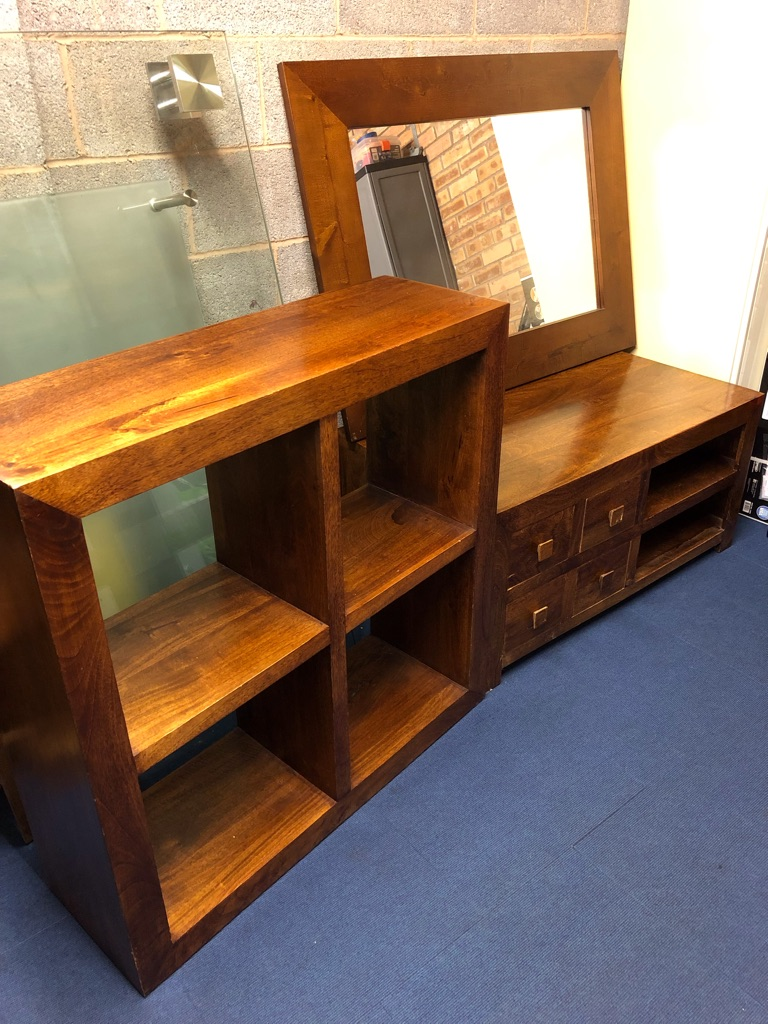 SET OF 3 medium coloured wood furniture units