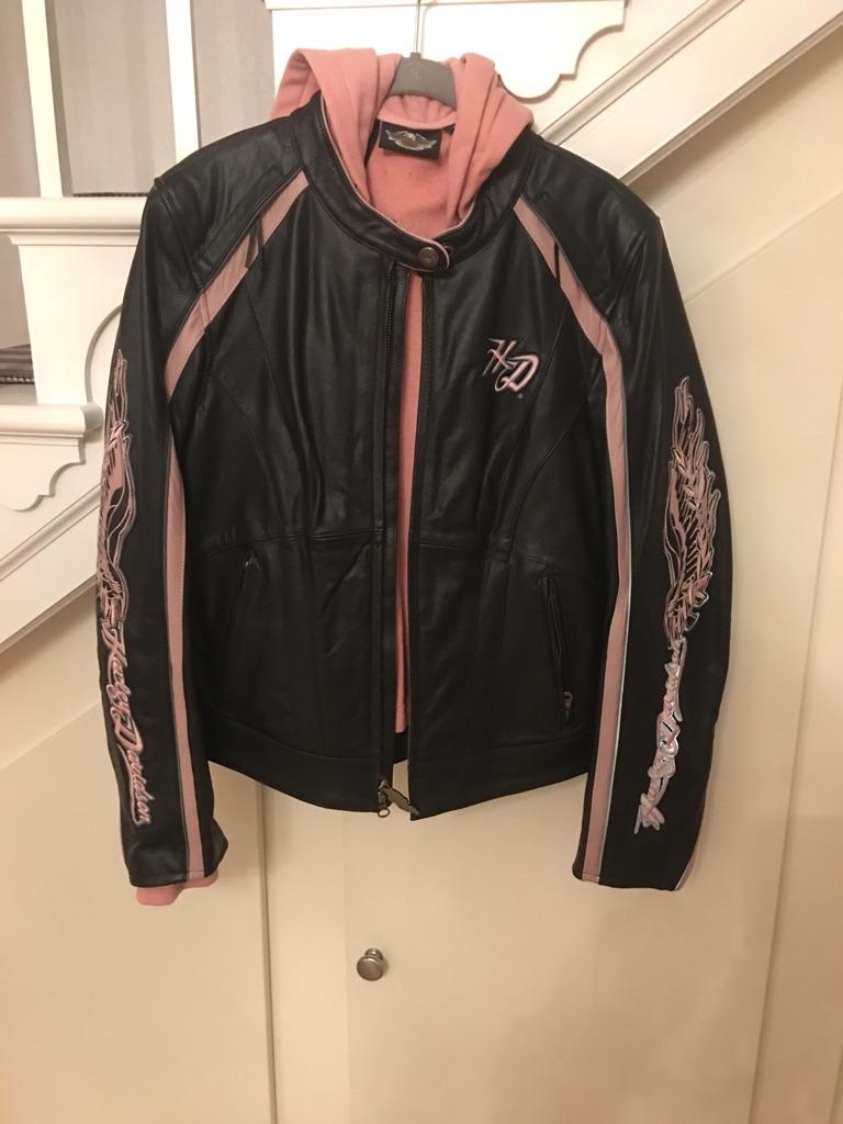Ladies leather black and pink Harley Davidson jacket