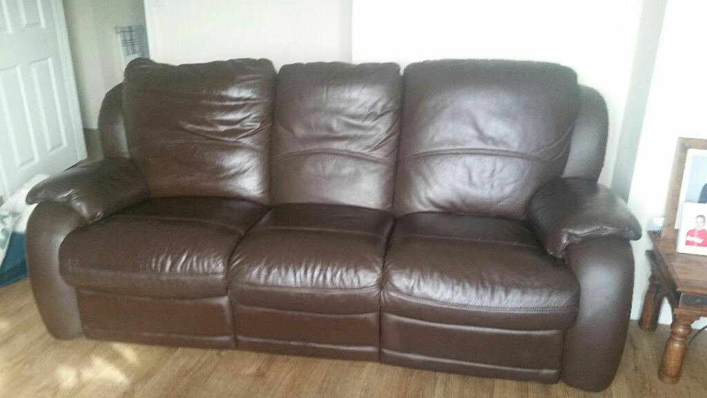 Itailian leather reclining settee and chair