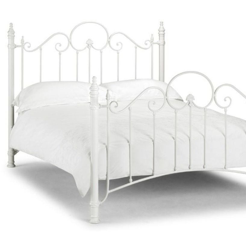White metal bed frame, 3/4 size, includes matching bedsides + mattress