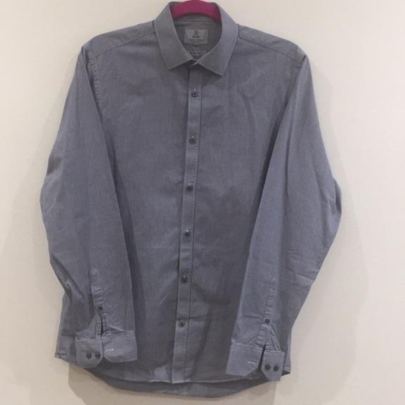 "Grey/white weave shirt (15.5"" slim fit)"