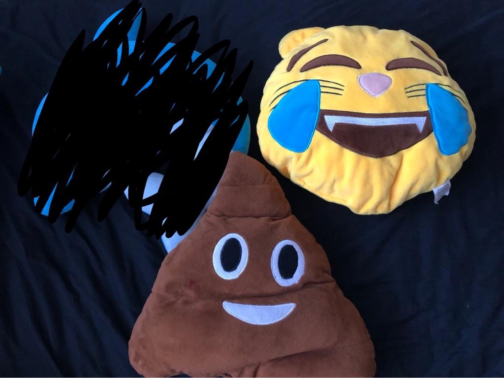 2 Emoji Pillows - Poo & Cat Laugh-Crying
