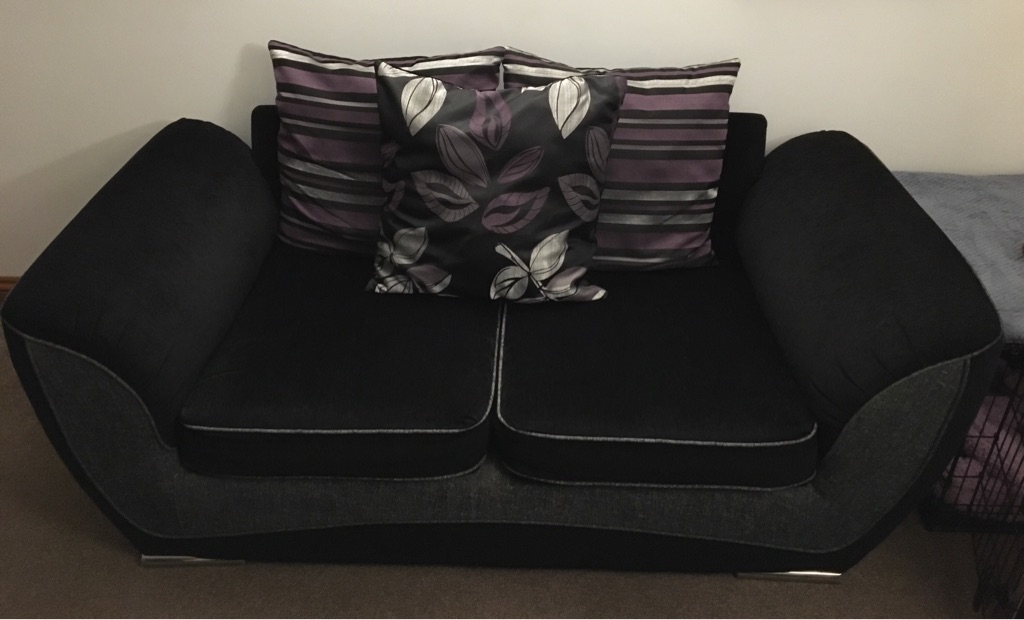 2 Seater Large Black Sofa with cushions £85