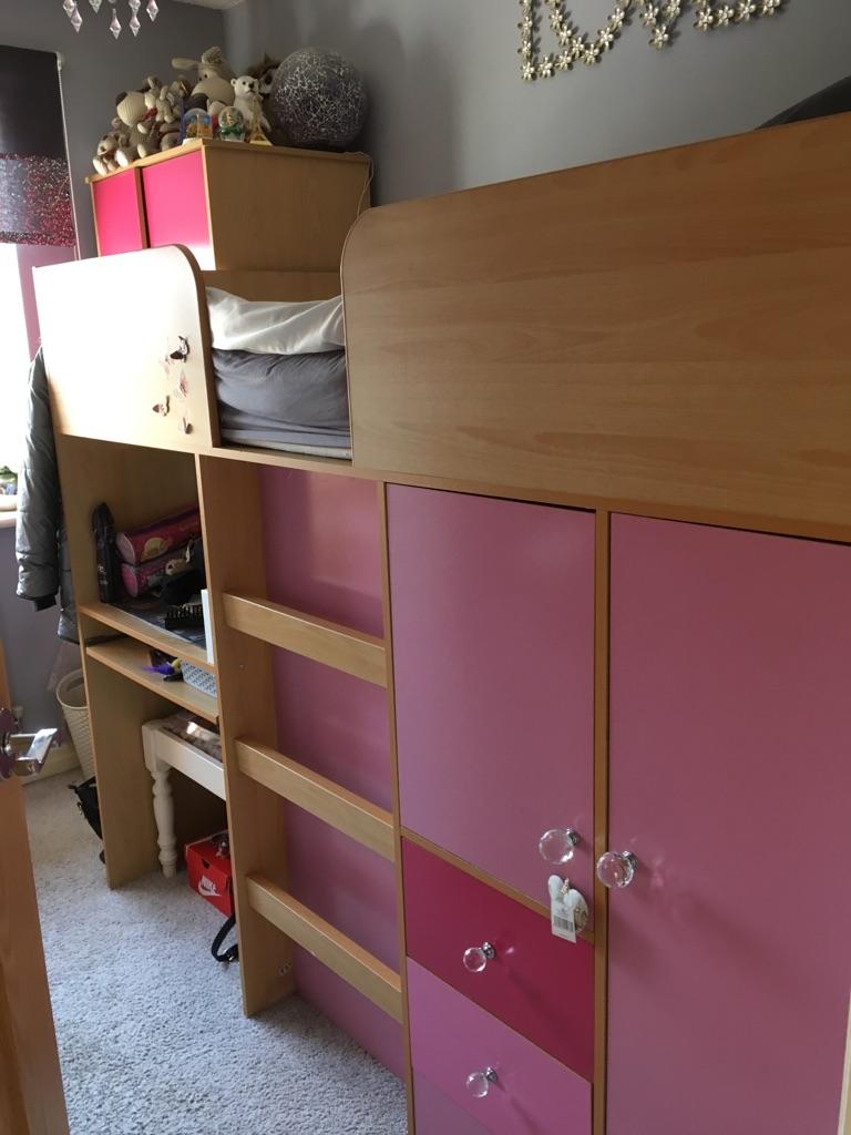 Girls midsleeper single bed.