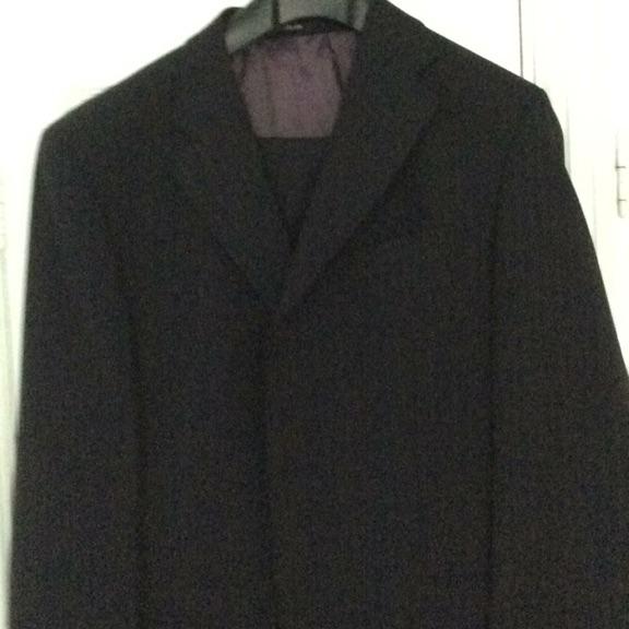 Dark blue pin stripe suit