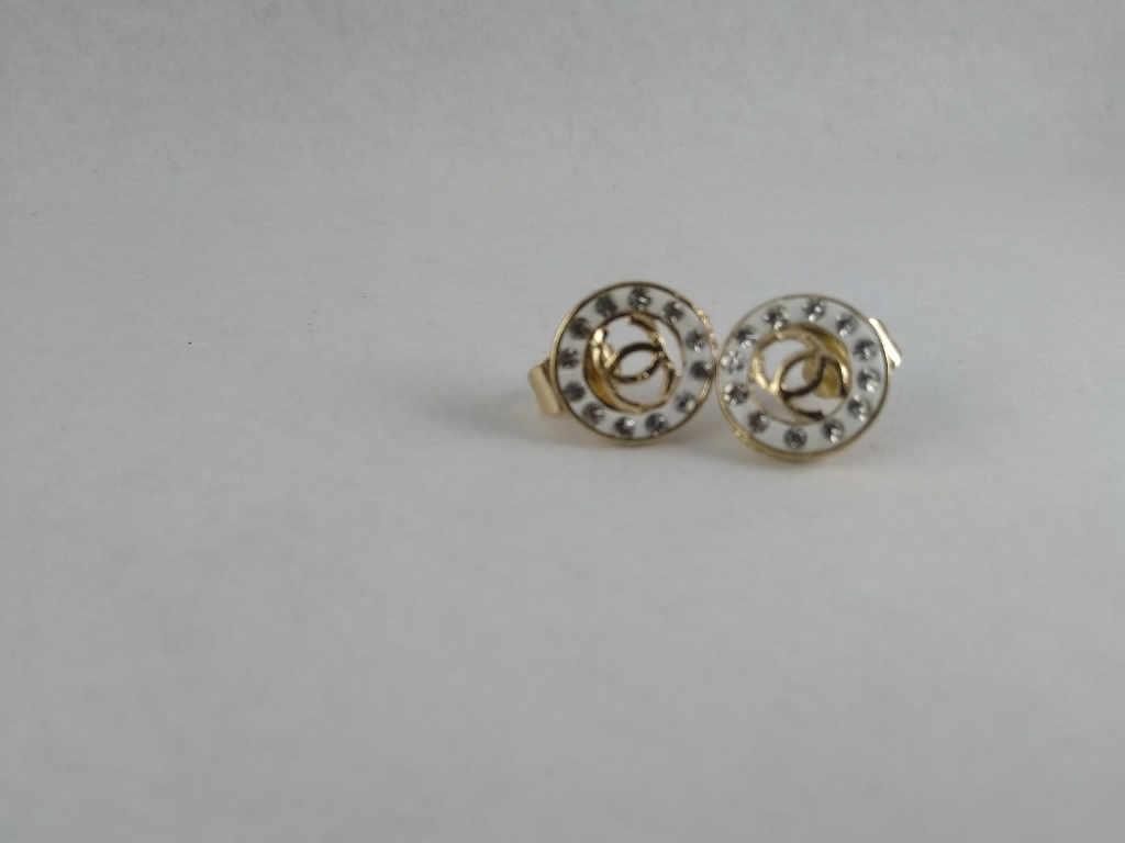 Cc stud earrings with stones