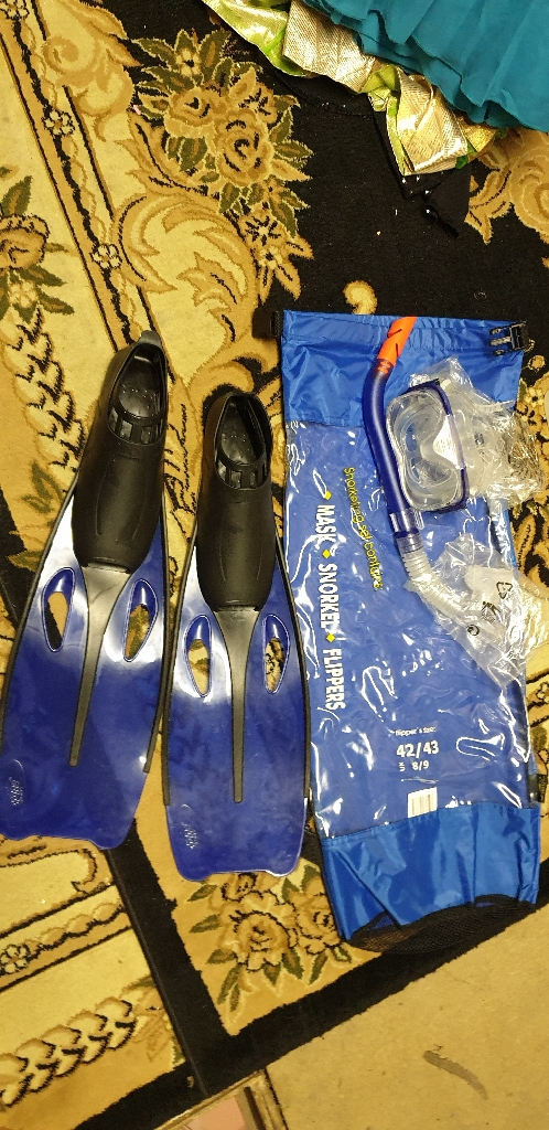 Googles slippers pipe and plastic bag