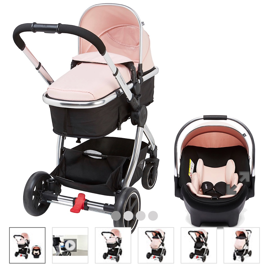 mothercare 4-wheel journey chrome travel system - blush