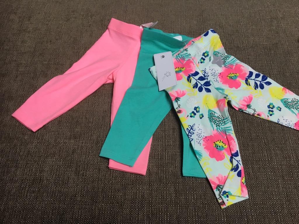 Baby girls 3-6 month pack 3 leggings NEW