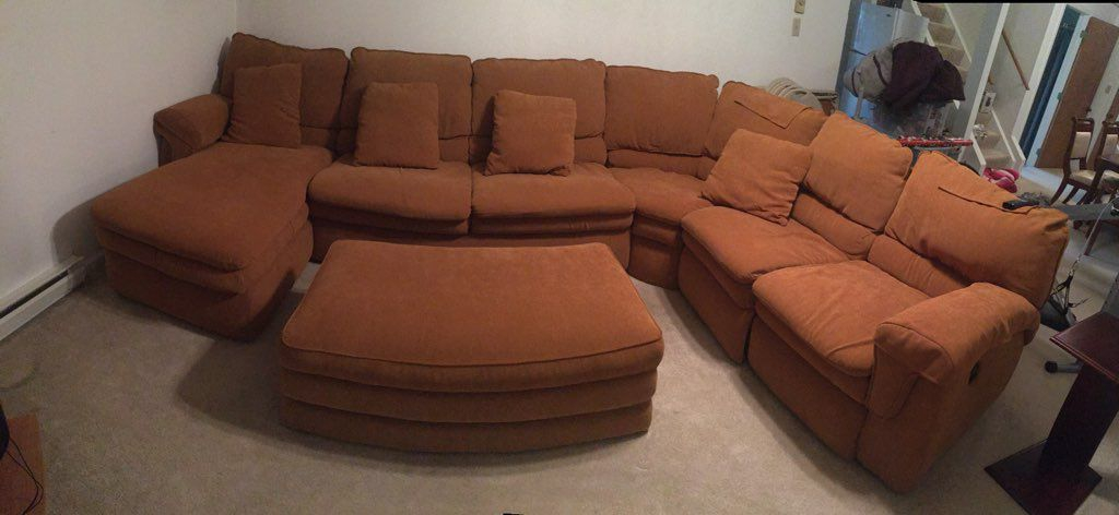 Lazy boy sleeper sectional w/ottoman