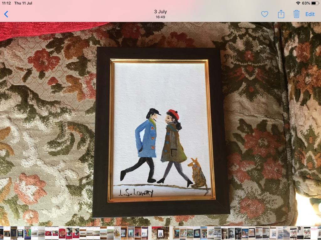 Oil painting signed after L S Lowry H8in W6in