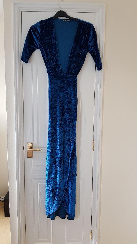 Blue velvet floor length dress size 10
