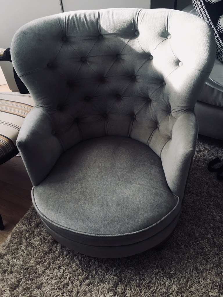 Chesterfield style low sit velour armchair
