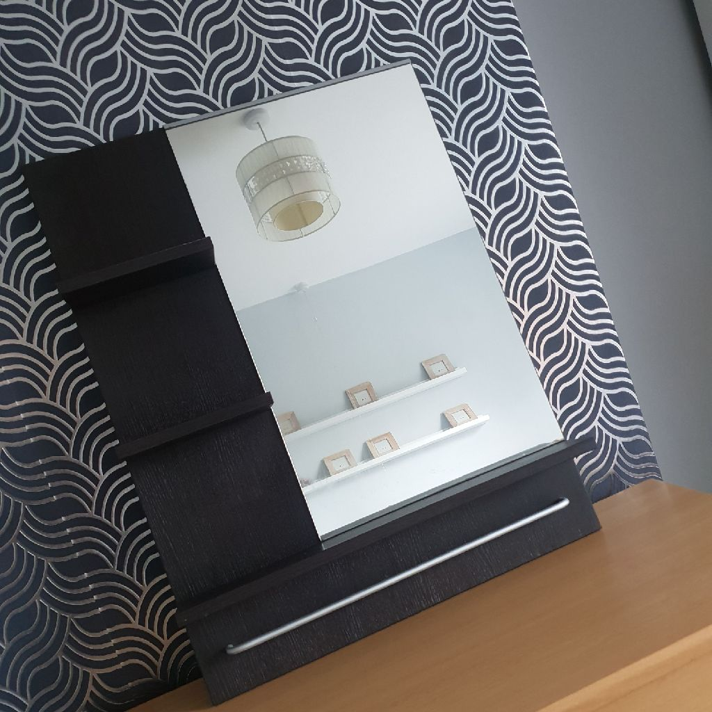 Black Wall Mounted Bathroom Mirror with Storage Shelves and Towel Rail