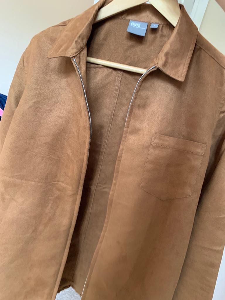 ASOS Suede tan zip Shirt Jacket, Brilliant Condition, S