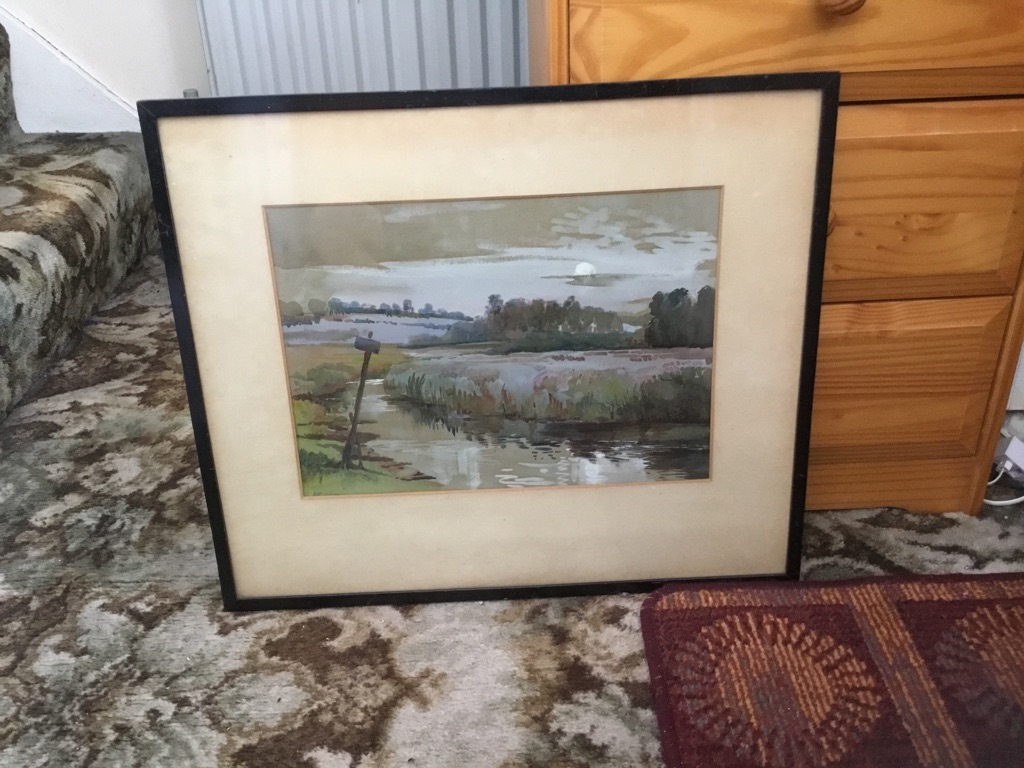 Fine oil watercolour painting of a landscape signed under the mount partly see it don't know the signing 20in 17in