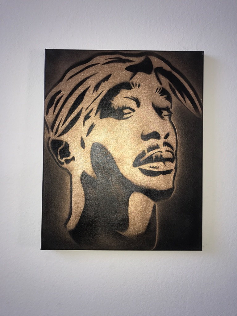 2 Pac 16x20 Graffiti Canvas