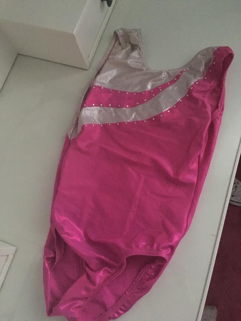 Girls pink and silver gymnastics leotard