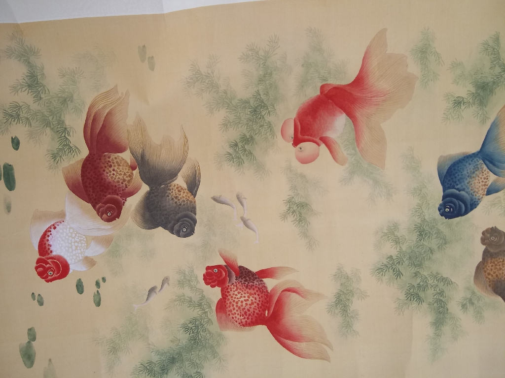 Vintage Asian Water Color Scroll Painting
