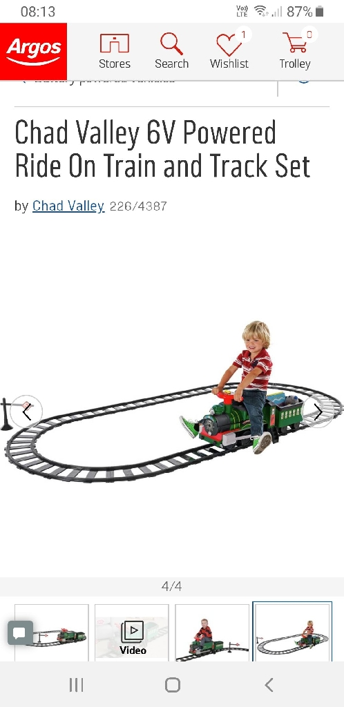 Chad Valley 6V Powered Ride On Train and Track Set