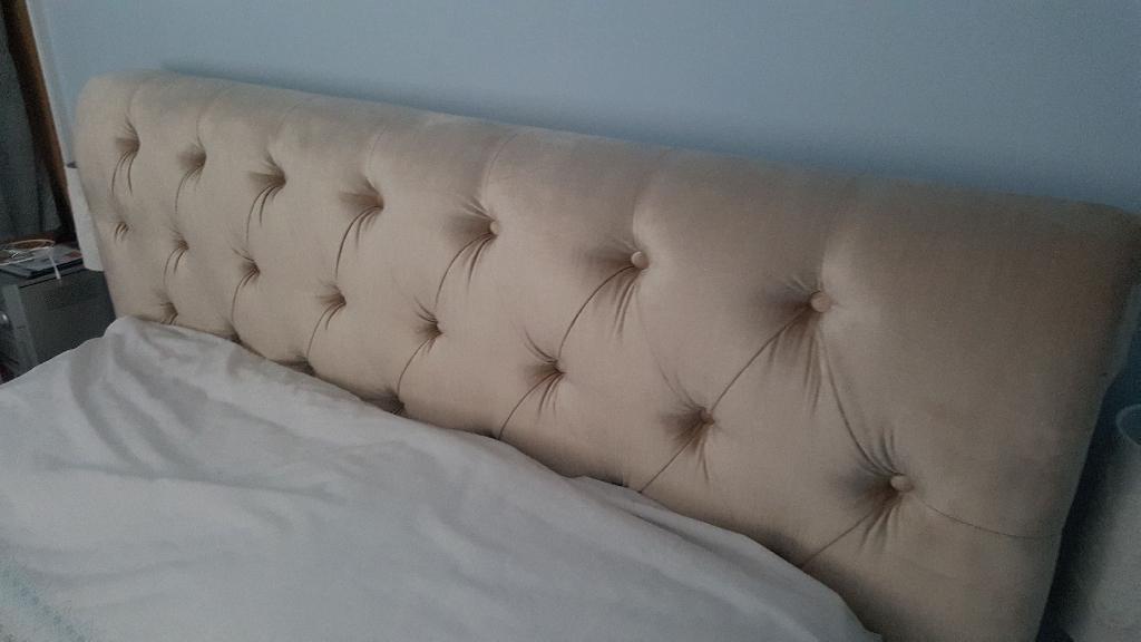 King size cream velvet sleigh bed with mattress