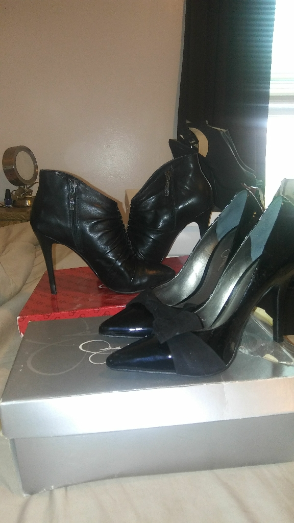 Jessica Simpson heel with bow and Guess booties