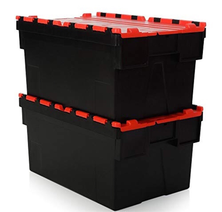 Industrial storage boxes heavy duty with lids 80 litres
