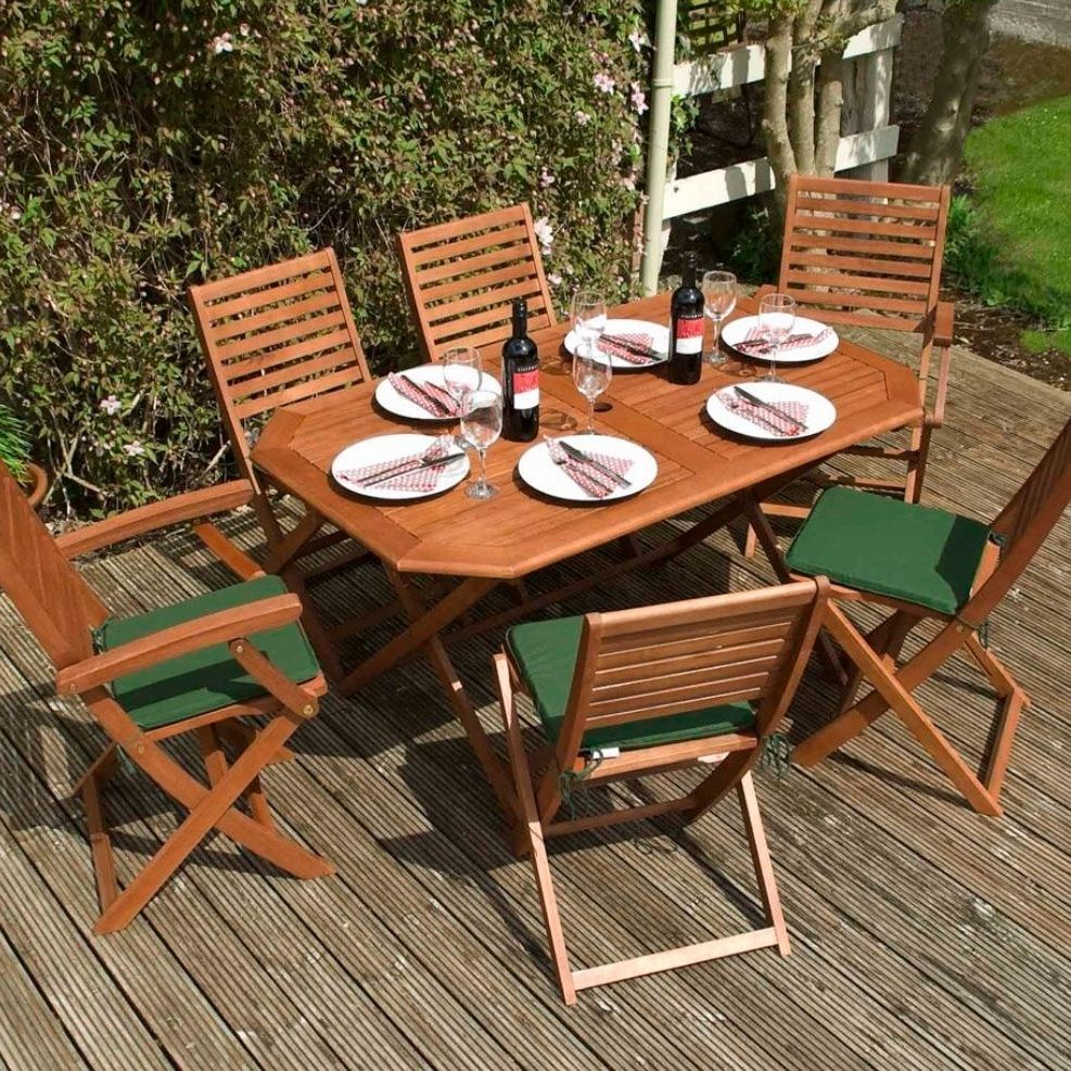 6 seater solid wood garden table & chairs