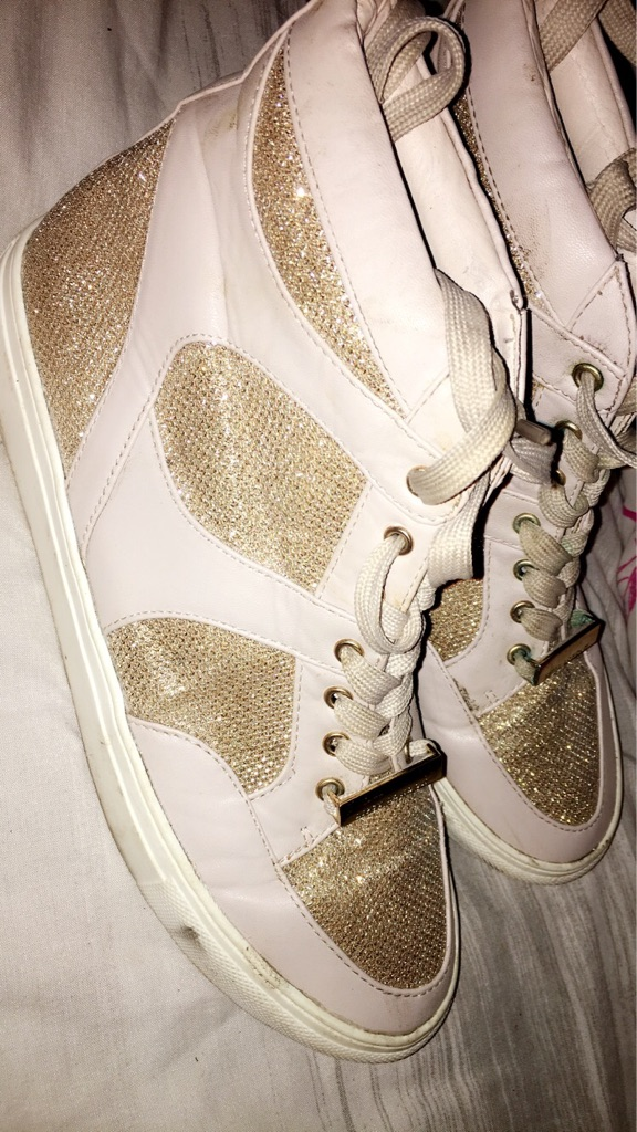 Nude and glitter gold lipsy hi tops