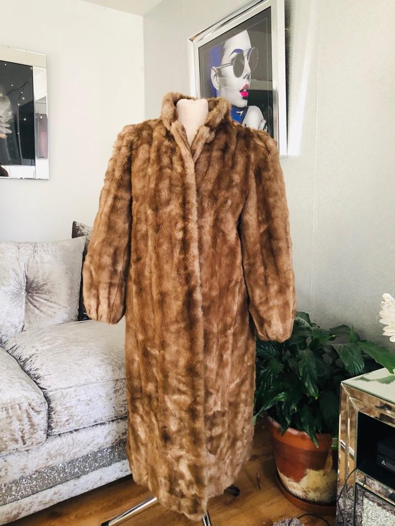 Women's brown vintage faux fur coat by astraka size 12