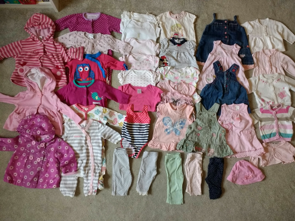0-3 months baby girls summer clothes bundle (37 items)