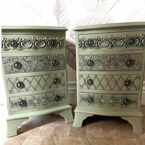 Green bedside cabinets, can deliver