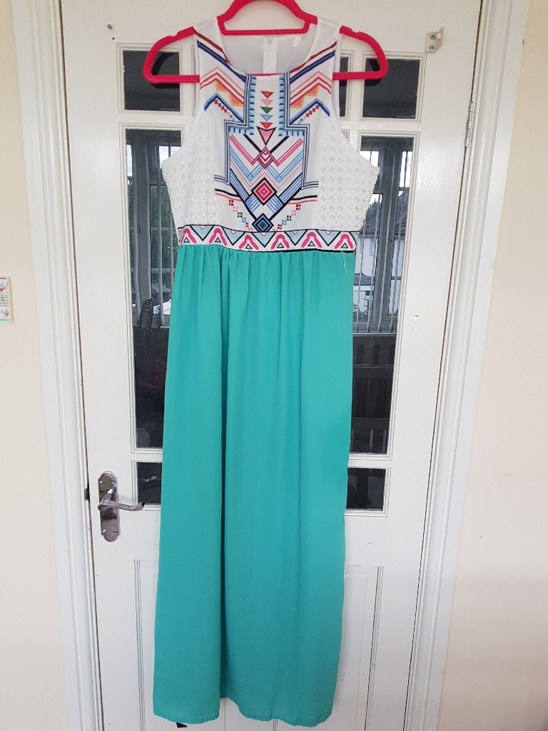 Boho style maxi dress. Multi colour/ green
