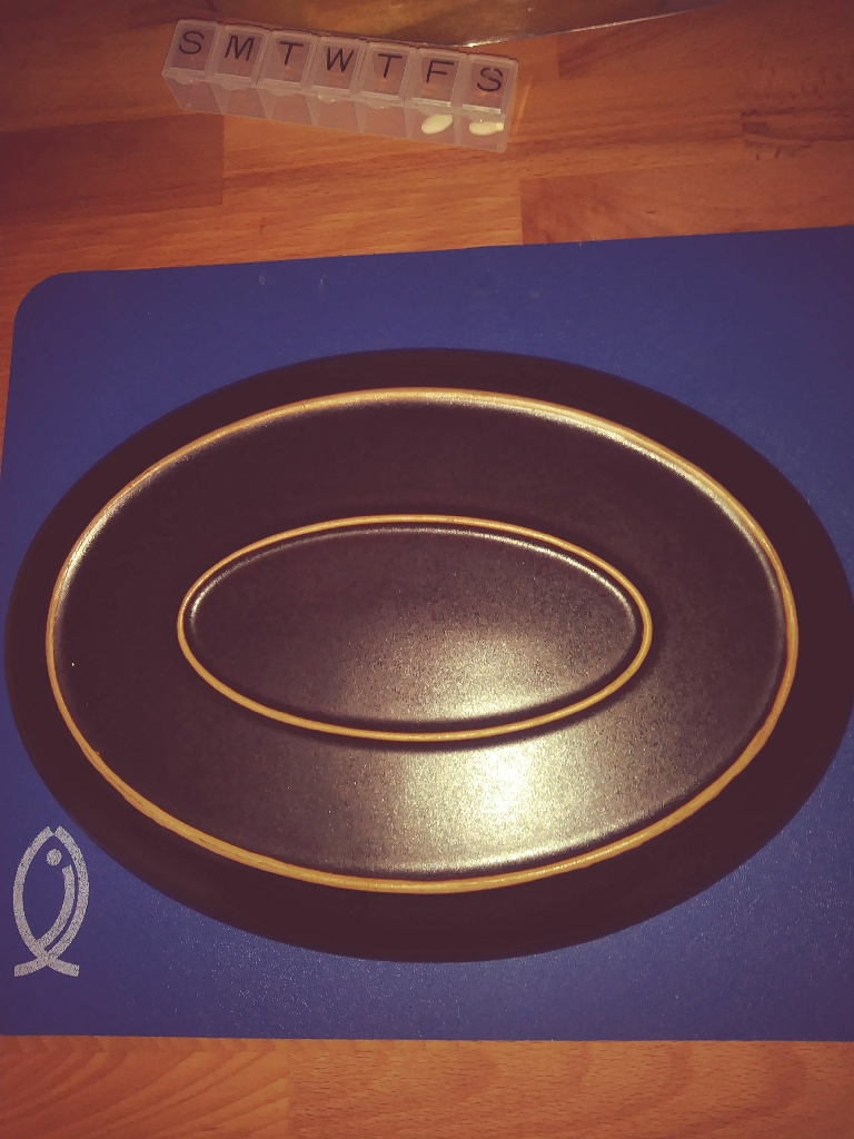 Denby Arabesque Oval Steak Plate.