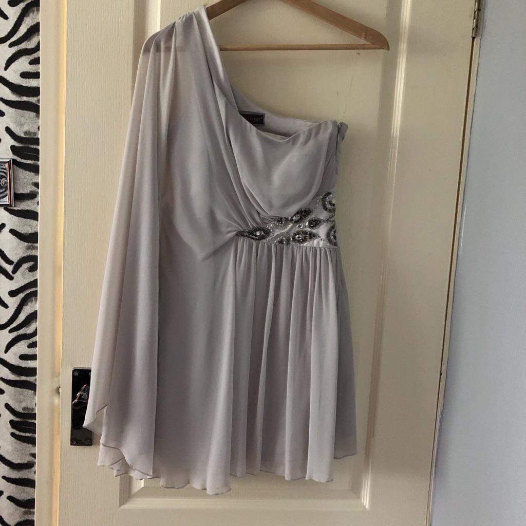 Grey embellished waist lipsy dress. Off the shoulder .
